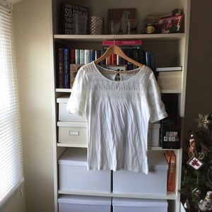 J. Crew White Lace T-Shirt